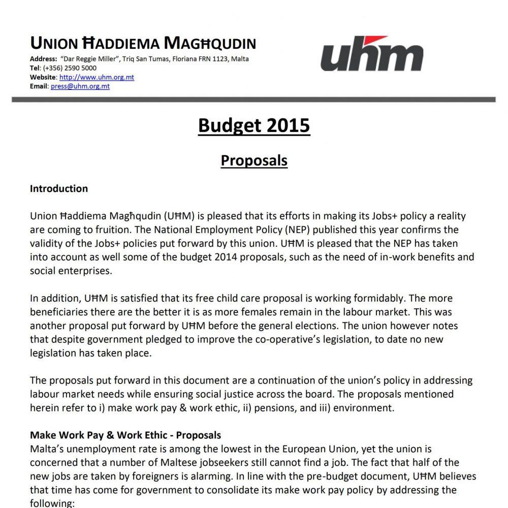 UHM Budget 2015