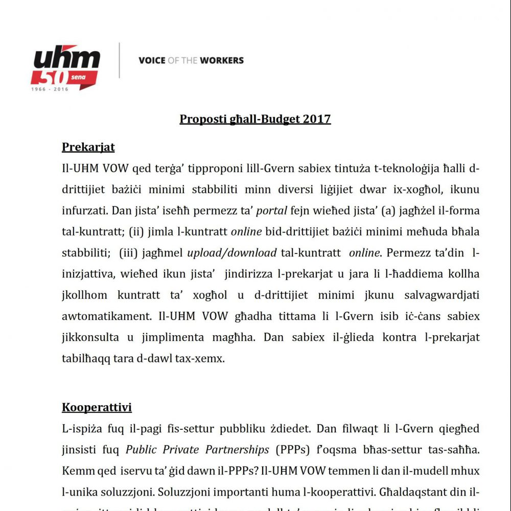 UHM Budget 2017